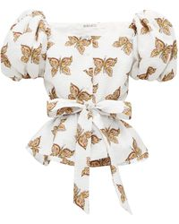 Rodarte Butterfly Cinch Waist Blouse - White