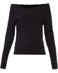 Dolce & Gabbana オフショルダー リブウールブレンドセーター - ブラック