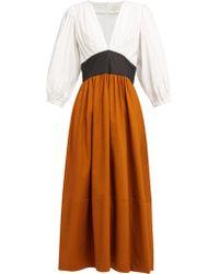 Isa Arfen - Robe en coton à empiècements colour-block - Lyst