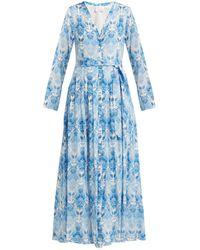 Athena Procopiou Kalua プリント シルククレープドレス - ブルー