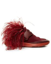 Christopher Kane - Feather-embellished Slip-on Neoprene Trainers - Lyst