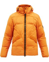 Stone Island Quilted Resin Coated Crinkle Rep Coat - Orange