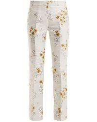 Giambattista Valli - Flared-leg Floral-jacquard Twill Trousers - Lyst