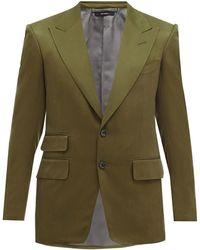 Tom Ford シェルトン シルクツイル テーラードジャケット - グリーン