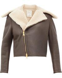 Bottega Veneta Shearling And Leather Jacket - Brown