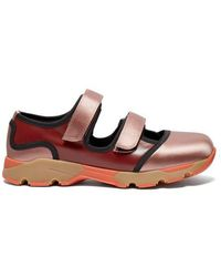 Marni - Tri Colour Satin And Leather Trainers - Lyst