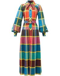 Gucci Madras-check Pleated Cotton Fil-á-fil Shirt Dress - Blue