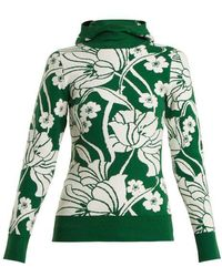 JoosTricot - - Floral Intarsia Cotton Blend Hooded Jumper - Womens - Green Multi - Lyst