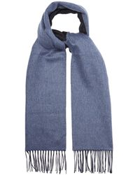 Lanvin Double Faced Brushed Cashmere Tasseled Scarf - Blue