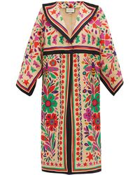 Gucci Paradise-print Linen-blend Kimono-style Coat - Multicolor