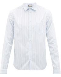 Gucci Striped Cotton-poplin University Shirt - Blue