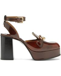 See By Chloé Mahe Curb-chain Leather Platform Loafers - Brown