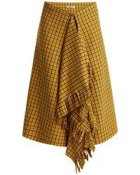 Balenciaga - Ruffle Detail Checked Wool Skirt - Lyst
