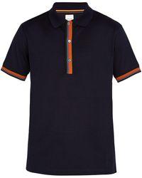 Paul Smith - Striped-placket Cotton-piqué Polo Shirt - Lyst