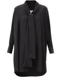 Loewe Anagram-scarf Silk-crepe Blouse - Black
