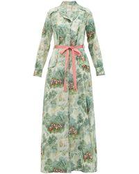 La Costa Del Algodón Antoinette-print Cotton-muslin Nightdress - Green