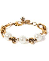 Alexander McQueen - Bracelet chaîne à ornements façon perle et skull - Lyst