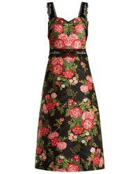 Dolce & Gabbana - Sweetheart-neckline Floral-jacquard Dress - Lyst