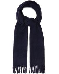 Raey Fringed Wool-blend Scarf - Blue