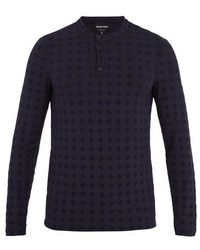 Giorgio Armani - Long-sleeved Flocked Jersey Henley Top - Lyst