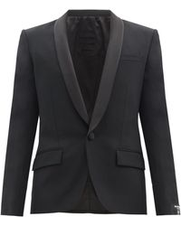 Balmain サテンショールラペル ウールジャケット - ブラック