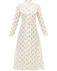 Giuliva Heritage Collection Robe-chemise en coton mélangé à imprimé The Clara - Neutre