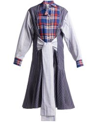 Loewe - Tie-front Plaid And Stripe-panel Cotton Dress - Lyst