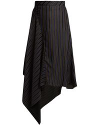 Palmer//Harding - Asymmetric Striped Jacquard Midi Skirt - Lyst