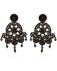 Oscar de la Renta Dreamcatcher Beaded Drop Earrings - Black