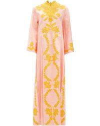 Gucci Floral Lace-appliqué Linen Kaftan - Orange