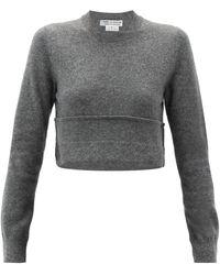 Comme des Garçons Comme Des Garçons Comme Des Garçons クロップドロールアップヘム ウールセーター - グレー