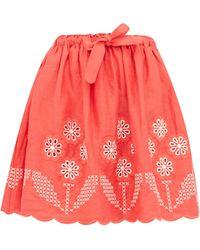 Innika Choo - Terre Belle Broderie-anglaise Linen Mini Skirt - Lyst