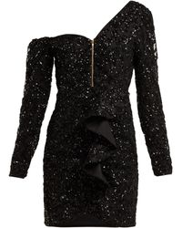 Self-Portrait Sequin Ruffle Mini Dress - Black