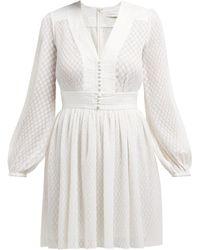 Zimmermann Dot Textured Plissé Mini Dress - White