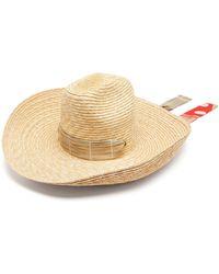 Thebe Magugu Shephard's Polka-dot Ribbon Straw Hat - Natural