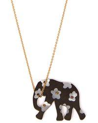 Marc Alary Elephant 18kt Gold, Ebony & Sapphire Necklace - Metallic