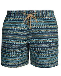 Thorsun Titan-fit Aztec-print Swim Shorts - Blue