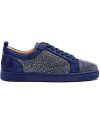 Christian Louboutin Louis Strass Embellished Leather Sneakers - Blue