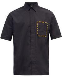 Fendi パッチポケット コットンシャツ - ブラック