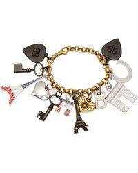 Balenciaga Bracelet chaîne à ornements charms Paris - Métallisé