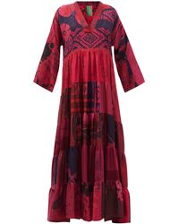 Rianna + Nina Patchwork Vintage-silk Maxi Dress - Red