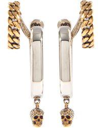 Alexander McQueen - Double-hoop Crystal-skull Metal Earrings - Lyst