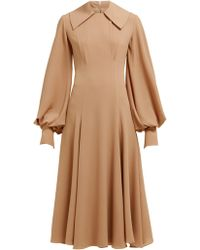 Emilia Wickstead Gaynor Panelled Midi Dress - Brown