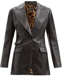 Dolce & Gabbana レザーシングルジャケット - ブラック