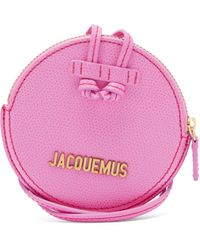 Jacquemus Le Pitchou Grained Leather Necklace Bag - Pink