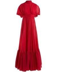 Giambattista Valli Cut-out Silk Crepe De Chine Gown - Red