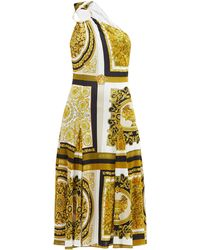 Versace One-shoulder Baroque-print Twill Midi Dress - Yellow