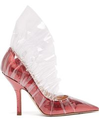 MIDNIGHT 00 Shell Lamé & Pvc Ruched Pumps - Red