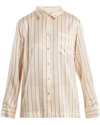 Beautiful Bottoms - Patch-pocket Striped Silk Pyjama Shirt - Lyst