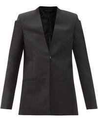 Givenchy ノーカラー ウールモヘア グランドプードル スーツジャケット - ブラック